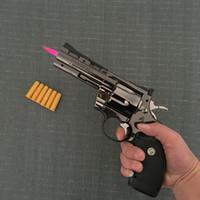 silahlar toptan satış-Python Revolver Hafif Metal Tabanca Tipi Silah Şişme Rüzgar Geçirmez Çakmak Mobilya Süsler Kişiselleştirilmiş Süsler 357 Gun Lighte