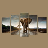 Wholesale Elephant Oil Canvas Painting - 5 Piece Canvas Art Large Modern Printed Elephant Oil Painting Picture Cuadros Home Decoracion Wall Art For Living Room