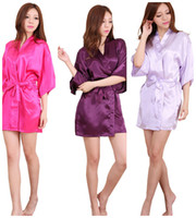 Wholesale Satin Night Gowns For Women - 10 Colors Large Size Sexy Satin Night Robe Lace Bathrobe Perfect Wedding Bride Bridesmaid Robes Dressing Gown For Women LC412-3