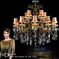 Wholesale Hanging Light Fittings - Hot Selling Big Crystal Chandelier Antique Brass Color hanging light Fitting Large Crystal Lustres Chandeliers for Hotel Project