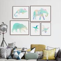 Wholesale Polar Sheets - Minimalist Minimalist Colorful Animal Chameleon Polar Bear A4 Art Prints Poster Polygo Wall Pictures Canvas Painting Home Decor