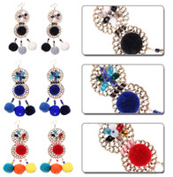Exagéré Big Pompon Ball Tassel Boucles d'oreilles Bohemian Drop Dangle Eardrop Elegant Jewelry Gift For Women 3 Styles B733L