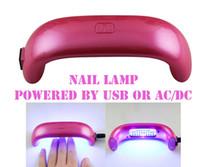 Wholesale Uv Power Supply - Portable USB 9W led nail uv Lamp nail dryers two ways power supply modes PURPLE