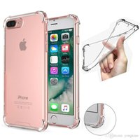 Wholesale Pink Rubber Fit - For Iphone X 6 7 plus 8 Samsung S8 plus case Shockproof Tpu Case Back Cover Transparent Soft Thicken Clear Gel Rubber Bulky Corners