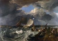 Wholesale Canvas Pier - Framed 1803 Joseph M.W Turner, Calais Pier, Boats, Ocean, ship,Sailing,HD Seascape Canvas Art Print Multi sizes Available