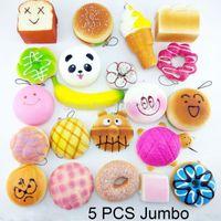 jumbo panda bun squishy venda por atacado-Atacado-5PCS Jumbo Random Squishy Panda Pão / Toast Soft Buns Phone Straps Mão Almofadas Chaveiro Mista