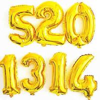 ballons numéros d'or achat en gros de-40 pouce Or Argent Nombre Feuille Ballons Digit Hélium ballon de mariage gonflable festa casamento Partie
