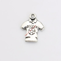 Wholesale Soccer Antiques - 25pcs Antique Silver Plated Soccer Shirt Charms Pendants for Necklace Jewelry Making DIY Handmade Craft 18x15mm