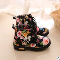 Wholesale Rose Floral Print Fabric - Children short boots girls rose flowers printed casual shoes children lace-up BOWS matin booties fashion kids sneakers size 21-30 R0368