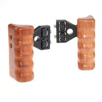 Wholesale Dslr Camera Cage Rig - CAMVATE DSLR Wooden Handle Grip Pairs with connector for DV Video Camera Cage