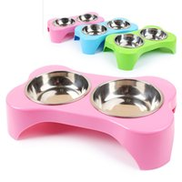 Dog Double bowl Filhote de animais de estimação Cat Feeders Dispensador de água Plastic Stainless Steel Combo Dog Supplies Pet Products Accessories