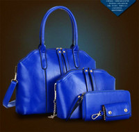 Wholesale Handbag Oil - 4 Pcs Sets Fashion Women Lady Handbag Wax Oiled Genuine Leather Shoulder Crossbody Composite Bags Handbag Messenger Bag Purse Wallet