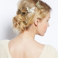 Wholesale Butterfly Clips For Hair - Lot 12 Pcs Hair Accessories Headwear Hair Grips Metal Gold Butterfly Hair Clip Hairpins Barrette Jewelry For Women Girls