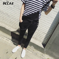 Wholesale Overalls Male - Wholesale-Male Suspenders 2016 New Brand Casual Denim Overalls black White Ripped Jeans Pockets Men's Bib Jeans Boyfriend Jeans