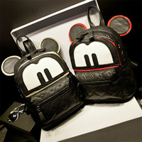 Wholesale Shool Bags - Fashion Women Cartoon Backpacks Shool bags with Mickey Mouse Ears Hip Hop Girls Designers Backpacks PU Famous Brand Vintage Backpacks