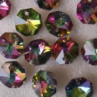 merkez kristaller toptan satış-200 Adet Gökkuşağı Renk 14 Mm Kristal Cam Sekizgen Boncuk Kristal Strand Garlands Düğün Centerpiece Dekorasyon Ev Dekorasyon Için