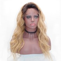 Lace Frontal Wig # 1b / 27 Dark Roots Ombre Black to Honey Blonde Lace Front Wig Cabelo humano brasileiro Full Lace Wigs