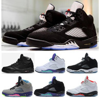 Wholesale Man Black Leather Shoes - High Quality Retro 5 OG Black Metallic 3M Reflect Basketball Shoes Men 5s CDP Premium Triple Black White Cement Sneakers With Box