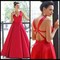 Wholesale Cross Back Tank Dress - 2016 Simple Sexy Red Prom Dresses V Neck Tank Ruched Satin Custom Made Backless Corset Evening Gowns Formal Sexy Women Gowns