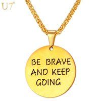 Wholesale Brother Love - unique Gold Round Letter Necklace Be Brave And Keep Going Stainless Fashion Jewelry Trendy Friend Brother Gift Pendant Necklace P822