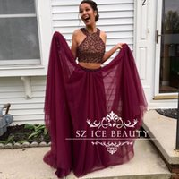 Wholesale Halter Top Chiffon Evening Gown - Sexy Burgundy 2 Piece Prom Dresses Long Crop Top Major Beading Sequins Halter Chiffon 2017 A Line Girls Dress Evening Party Gown