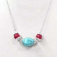 Wholesale Tibet Necklace Quartz Beads - 18'' 15x20mm Turquoise Stone Red Bead Choker Necklace Silver Chain