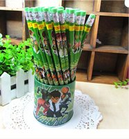 Wholesale Wholesale Boy Erasers - Quality Eco-Friendly Wooden BEN 10 Student Stationery Pencil with eraser shcool office supplies BOYS GIFT 144pcs
