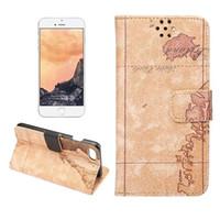 Wholesale Map Wallet Flip Case - For iPhone 8 Wallet Case for iPhone 8 Plus 7 7 Plus Map Flip Stand with Card Slot Protective Case 20pcs up
