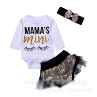 Wholesale Wholesale Lace Romper Pants - Cute Ins Baby Girls Romper My Mama's Mini Eyelash Letters Printed rompers + Lace Sequins shorts Pants + bow headband 3piece set White A7472