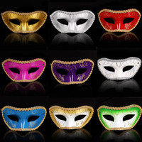 Wholesale Masquerade Masks White Purple - 2016 Men Women Costume Prom Mask Venetian Mardi Gras Party Dance Masquerade Ball Halloween Mask Fancy Dress Costume