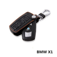 Wholesale Bmw Leather Key Cover - Leather Cowhide key Holder Case ring BMW X1 Dedicated Buttons Keychain cover accessories