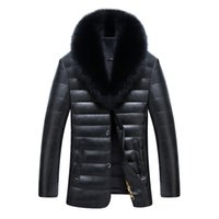 Wholesale Mens Waterproof Parka Jackets - Mens Down Parkas Winter Coat Duck Down Jackets Real Fur Collar Warm Thick Outwear Overcoat Sheepskin Waterproof High Quality 3xl 2017