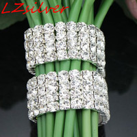 Wholesale Wholesale Crystal Stems - MIC 12Pcs 4 Rows Rhinestone Bouquet Bracelet Wedding Flower Stem Decoration (003010)