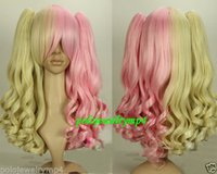 2018 New Cosplay Lolita Long Heat Resistant Curly Blonde Pink Split Typ Wig