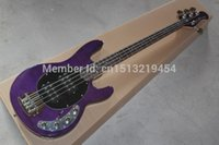 Wholesale Ernie Bass - Free Shipping New Arrival Guitar Factory Ernie Ball Sting Ray purple 4 String Bass Guitar Active pickups