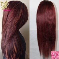 Wholesale burgundy human hair wigs resale online - Burgundy Lace Front Wig Brazilian Human Hair Silky Straight Full Lace Wig For Balck Women Lace Front Human Hair Wigs J