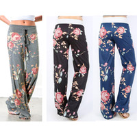 Wholesale Wide Legged Drawstring Pants - NEW CASUAL LADIES FLORAL YOGA PALAZZO TROUSERS WOMENS SUMMER WIDE LEG PANTS PLUS SIZE 3 COLORS