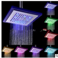 "Wholesale square rain shower lights - Diameter 8"" inch 20cm RGB LED light Stainless Steel Rainfall Rain Bathroom Shower Head,Water Saving Rainfall Bathroom"