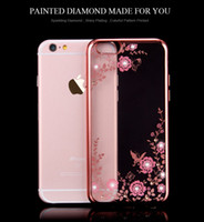 Wholesale Diamond Flower Phone Cases - Flora Diamond Silicon Case for iPhone 7 6 6S Chic Flower Bling Soft clear TPU Clear Phone Back Cover