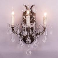 große wandleuchten großhandel-große große Luxusbadezimmer-Eitelkeit beleuchtet Wandlampen / fashional antike französische Kristallkerzenwandlampe des Rosts / Beleuchtungbefestigung