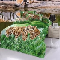 Wholesale Tiger Painting Duvet - 2016 New Arrival 5D Oil Painting Tigers Printed Queen Size 100% Egyptian Cotton Bedding Set Duvet Cover Set