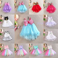 Wholesale Stripe Bowknot Dress - 12 Design Girl flower bowknot stripe lace Dress new Fashion princess party paillette Print Rainbow colors sleeveless tutu Dress skirt B001