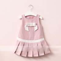 Wholesale Kids Western Dresses - Everweekend Girls Bow Ruffles Autumn Dress Lovely Kids Pink and Blue Color Clothes Princess Western Fashion Children Holiday Party Clothing
