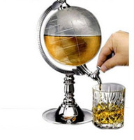 Free DHL Creative Water Dispenser Metal Earth Globe com plástico Drink Beer Machine Silver Globe Beer Machine Party Supply E655L