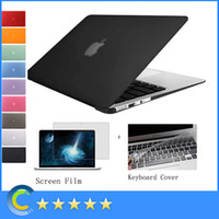 Crystal Clear Rubberized Hard Shell Case + Silicone keyboard Cover + screen film para Macbook Air Pro Retina 11 13 15 Inch