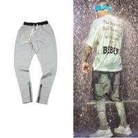 Wholesale Justin Bieber Jogging Pants - Wholesale-TOP sport gym clothing hip hop cool sweatpants skinny joggers jogging sweat justin bieber side zipper harem pants fear of god