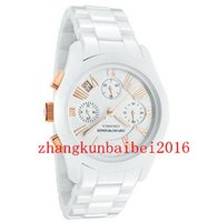 Wholesale Ladies Rose Gold Chronograph Watch - Hot Selling NEW Ladies AR1417 Ceramica Watch Whit e Bracelet Rose Gold CHRONOGRAPH WATCH + 2 YEAR WARRANTY