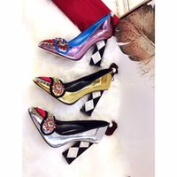 Wholesale Sweet Pumps - fashion women sweet genuine leather 10cm heels pumps, women lovely popular leather rhinestone high heels shoes original package luxury shoes