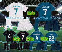 Wholesale Name Boy Shirt - Wholesale 17 18 real madrid kids soccer jerseys home away custom name number ronaldo 7 AAA quality soccer uniforms shirts+shorts+socks
