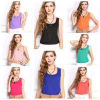 Wholesale Ladies Camisoles Colors - 11 Colors Fashion Women Ladies Sleeveless Vests Candy Chiffon Camisoles Tanks Summer Solid Tank Tops For Girls CCA7326 50pcs